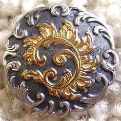 """Glorious French antique silvered rococo button w/gilt feather 15/16"""" PARIS back"""