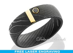 Wedding Band Damascus Steel Gold Inlay Black Diamond Wedding Ring Mens Womens Engagement Ring His Engraving Anniversary Any Size 8mm Modern