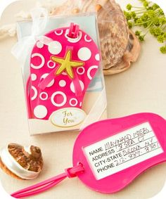 Hot Pink Flip Flop Luggage Tag  - Beach Wedding Party Favors