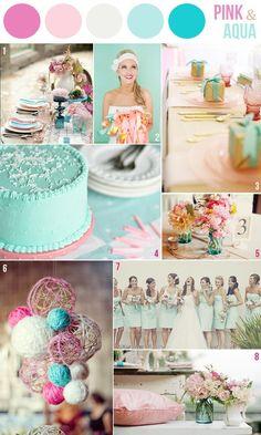 pink and aqua palette inspiration wedding