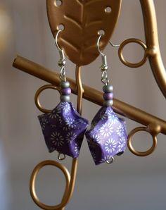 Boucles d'oreilles étoiles en origami : Boucles d'oreille par lililala