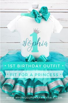 Aqua Blue Birthday Outfit for Girl - Blue and Silver Princess First Birthday Gift - Cake Smash Ribbon Tutu Set - Any Age Princess First Birthday, Baby Girl 1st Birthday, First Birthday Gifts, 1st Birthday Outfits, 1st Birthday Parties, First Birthdays, Tutu Outfits, Girl Outfits, Ribbon Tutu