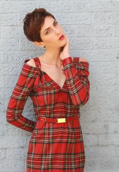 Arabelle Tartan Long Sleeve Wool Dress