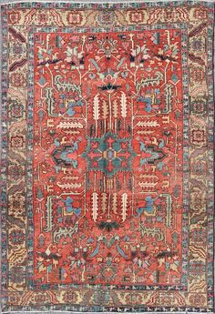 "Antique Serapi Rug - M14-0806   Serapi - 8'8"" x 12'0""   Wool  - Medallion - Pile, Origin Iran, Circa: 1900"