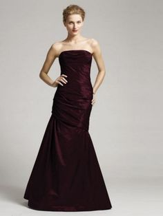 2014Style Trumpet/Mermaid Strapless Ruffles Sleeveless Floor-length TaffetaProm Dresses/Evening Dresses