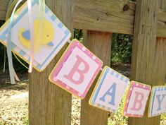 Pink and Blue Baby Shower Banner by SharingAPassionINC, Etsy