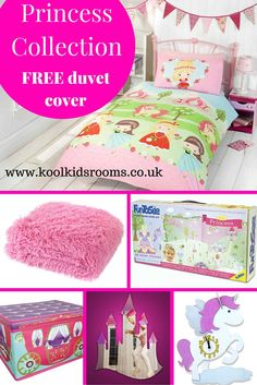 Princess Themed Bedroom Collection - Starter pack consists of 6 items: Pretty Princess single duvet, candy pink shaggy throw, Princess room make-over kit, Unicorn wall clock, castle mirror & Princess Carriage storage box. Girls Princess Bedroom, Pink Bedroom For Girls, Pink Bedrooms, Princess Room, Bedroom Themes, Bedroom Ideas, Princess Carriage, Unicorn Wall, Childrens Bedroom