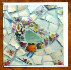 Ceramic Bird Card - Blank Greetings Card of Mosaic Bird - Floral Turquoise Bird Card - Cute Bird Card - Chickadee Card Mosaic Birds, Ceramic Birds, Mosaic Art, Mosaic Glass, Mosaics, Mosaic Ideas, Mosaic Projects, Broken China Crafts, Bird Cards