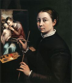 Sofonisba Anguissola Self Portrait at Easel. She was a Renaissance painter trained by Michelangelo and worked at the Spanish court. Renaissance Artworks, Renaissance Artists, Italian Renaissance, Artemisia Gentileschi, Prado, Female Painters, Sonia Delaunay, Historical Women, Old Master