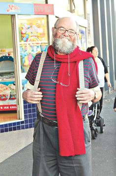 Niddrie: Paul.  We're sensing you like red... Red is warm and bright and my wife knitted this scarf for me 15 years ago.  Photo by Sue Hewitt.