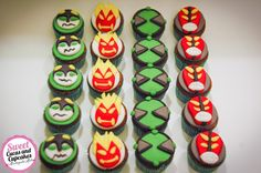 Sweet Cucas and Cupcakes by Rosângela Rolim: Mini Cupcakes Ben 10 Mini Cupcakes, Birthday Cupcakes, Ben 10 Birthday, Birthday Parties, Bolo Do Ben 10, Ben 10 Cake, Ben 10 Party, Themed Cakes, Fondant