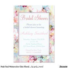 """Ducha nupcial floral elegante de la acuarela invitación 5"""" x 7"""""""