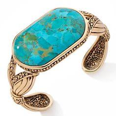 "Studio Barse Turquoise Bronze Rectangle 7"" Cuff Bracelet at HSN.com."