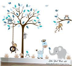 Wall decal design nursery tree decals owls by Littlebirdwalldecals