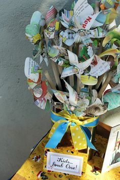 Cute! DIY: Recycled Pinwheels from vintage children's books, old maps, etc.