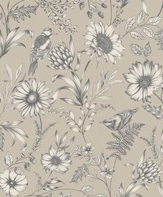 A botanical inspired floral design in natural from the Bloom Wallpaper Collection. Arthouse wallpaper is available at Go Wallpaper UK. Cream Wallpaper, Standard Wallpaper, Feature Wallpaper, Botanical Wallpaper, Bird Wallpaper, Bathroom Wallpaper, Print Wallpaper, Wallpaper Roll, Flowers