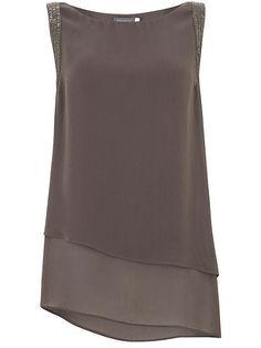 Mocha Sequin Asymmetric Tunic