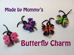 Butterfly Charm Without the Rainbow Loom. How to make a Butterfly Charm using 16 Rainbow Loom Bands, scissors and a crochet hook. No loom is required! A fun and easy craft tutorial for spring! Check out more charms you can make using just a Crochet Hook Rainbow Loom Tutorials, Rainbow Loom Patterns, Rainbow Loom Creations, Rainbow Loom Bands, Rainbow Loom Charms, Rainbow Loom Bracelets, Loom Bands Designs, Loom Band Patterns, Loom Band Charms