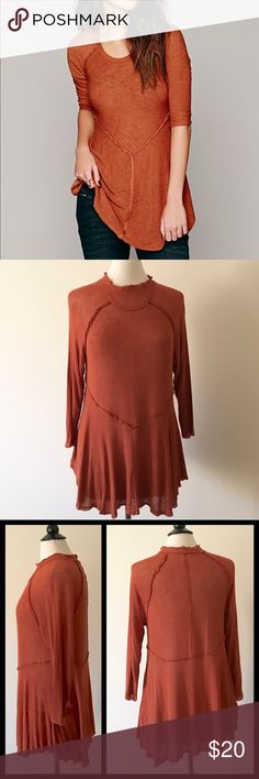Free People Weekend Layering Top This sheer layering top boasts reverse seam detailing and an unfinished uneven hemline that give it a trend-right look. Its lightweight fit and feel make it a stylish and cozy option for any occasion!  * The actual neckline  of the  shirt is shown in last 3 photos.  🚫Trades✅Bundle and save Free People Tops Tunics