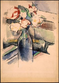 Paul Cezanne — Roses in a Bottle via Paul CezanneSize: 43.6x31 cm...