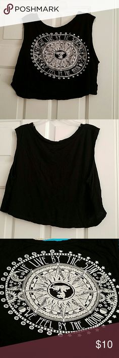 """Black Printed Croo Tank Top Festival ready """"We live by the sun, we feel by the moon"""" black crop tank top, never worn. Tops Tank Tops"""