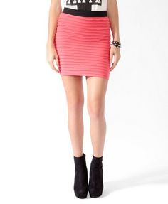 Pintucked Bodycon Skirt   Coral