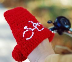 Bike Hand Warmers Gloves Wool Crochet Autumn Fall Winter Spring Cold Days Unisex Woman Man Teens Gift Cozy  Red. $25.00, via Etsy.