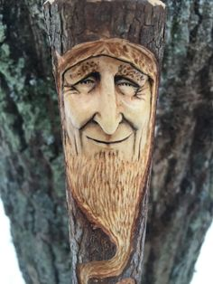 This is a walking stick wood carving of a wood spirit. This unique wood gift was hand carved by me, Josh Carte, in this one of a kind vine- twisted stick. A walking cane makes a great wood gift for him or her. 58 long x 1 1/4 thick, Dogwood hardwood Friendly Frank I carved this fella using tools similar to those of a dentist. There is a hand piece, foot pedal and hanging motor that I use with various cutters to create all of my sculptures. I like to add just a tad of oil paint to acce...
