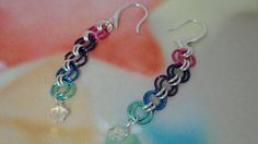 Colorful Dangle Earrings with Swarovski by PmBSparklesLinks, $5.00