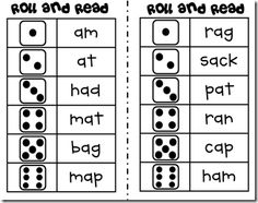Roll and Read short Vowel Words---Oceans of 1st Grade Fun