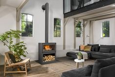 Stove Fireplace, Fireplace Design, Wood Burning Stove Insert, Wood Burning Stoves, Free Standing Wood Stove, Wood Fireplace Inserts, Log Burner Living Room, Garage To Living Space, Concrete Interiors