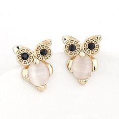 New 2017 Fine Women Opal Jewelry Gold Color Night Owl Stud Earrings with Cat's Eye Stone brincos grandes Accessories bijoux Owl Earrings, Girls Earrings, Vintage Earrings, Women's Earrings, Cream Earrings, Fashion Earrings, Fashion Jewelry, Women Jewelry, Pink Gemstones