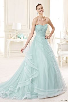 Nicole Spose #bridal 2015: strapless color #wedding dress in tiffany blue or mint green #weddinggown #weddingdress