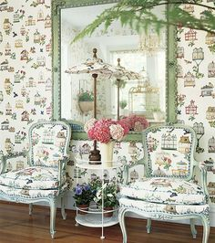 """This wallpaper, """"Birdcage"""", is very playful and whimsical, yet still epitomizes the essence of garden decorating."""
