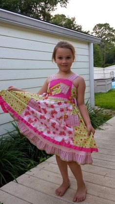 Lime & Pink Polka Dots and Butterfly Ruffled Feliz Dress size 6-7 #Handmade #DressyEverydayHoliday