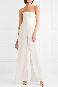 98222f0578d Halston Heritage - Strapless layered crepe and chiffon jumpsuit