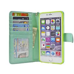 5.5-inch iPhone 6 Plus Case Folio Book Wallet Cover Vegan Leather Multi Card Pockets Clear ID Window, Money Slot, Removable Strap - Navor (Mint) Navor http://www.amazon.com/dp/B00NGPZGDW/ref=cm_sw_r_pi_dp_WFMMub143RG4N