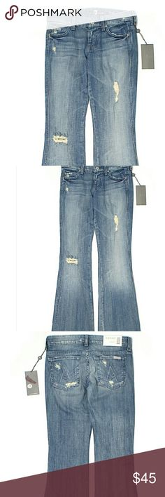 """7 For All Mankind Jeans  24 Waist Description Boot leg cut Low rise waist Distressed detail and Medium wash BlueSolid Appproximate Measurements 30"""" Inseam,?7"""" Rise,?28"""" Waist Materials 98% Cotton,?2% Spandex Condition Brand new with tags still attached. Item#16561686 7 For All Mankind Jeans Boot Cut"""