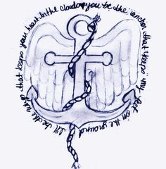 Anchor with wings, lose the rope. add a clover as they hole in the anchor, add music notes as the hooks to the anchor, and family to the center. tat.
