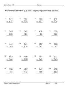 Subtraction Worksheet  Digit Minus Digit Subtraction All