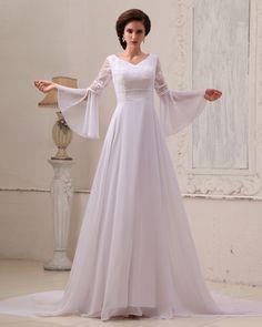 Broderi Chiffon Profilering Cathedral Train Empire bröllopsklänningar - SEK 2,171 : Professionella bröllopsklänningar butiker, prettyweddinghot.com