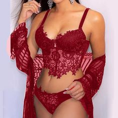 Jolie Lingerie, Red Lingerie, Pretty Lingerie, Beautiful Lingerie, Women Lingerie, Lingerie Sets, Lingerie Outfits, Bra And Panty Sets, Lace Collar