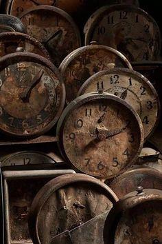 rusted vintage clocks