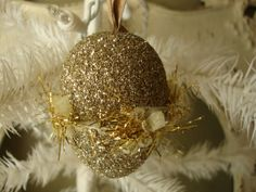 Glass glitter easter egg ornament gold by PaperAndMache, $5.00