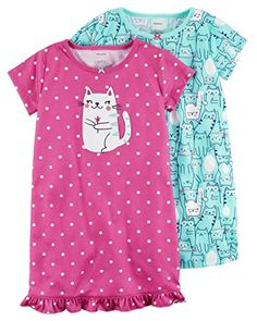 Cartrs Carter's Girl's Pink Polka Dot Kitty and Print Polyester Nightgown Set Toddler Outfits, Boy Outfits, Kids Nightwear, Baby Girl Pajamas, White Flower Girl Dresses, Slippers For Girls, Frocks For Girls, Baby Kids Clothes, Carters Baby