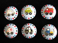 Set of 6 CARS and TRUCKS - Hand Painted Wooden Knobs Pulls - Perfect for Little Boy's Room. $36.00, via Etsy.