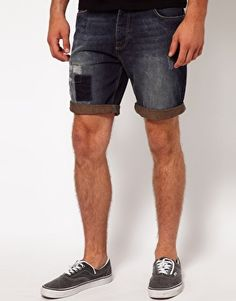 ASOS Denim Shorts With Cut And Sew Detail