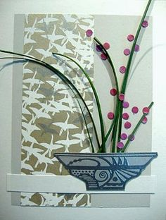 These cards are from my Ikebana class, using my cloissone pot.