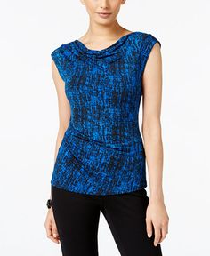 Anne Klein Printed Cowl-Neck Top