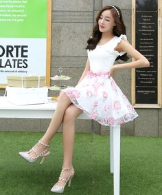 Dress : Cultivate one's morality round collar chiffon dress WJ0041
